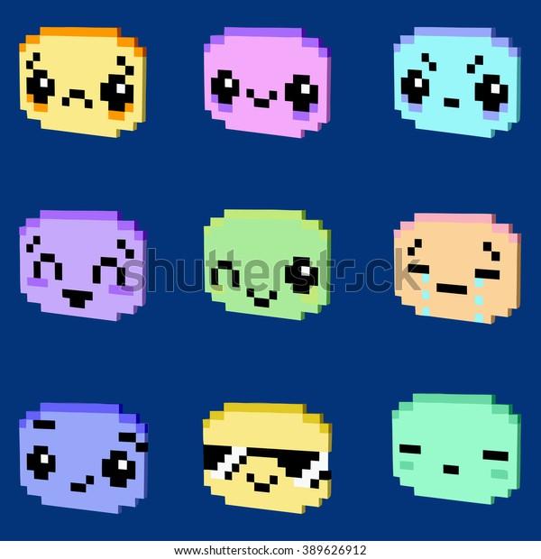 Image Vectorielle De Stock De Kawaii Smiley Icons 3d Pixel
