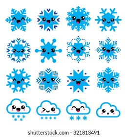 Kawaii snowflakes, clouds with snow - Christmas, winter icons set