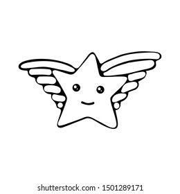 Kawaii star vector. Cute cartoon star with wings and smile. Cute star illustration for kids. Design children, stickers. Black and white graphic line. Coloring for kids.