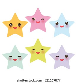 Kawaii stars set, face with eyes, boys and girls pink green blue purple yellow pastel colors on white background. Vector