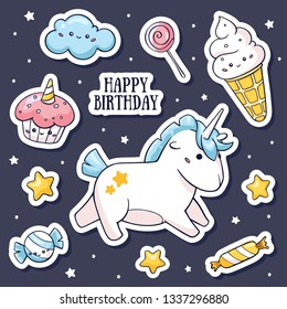 Kawaii stickers set with unicorn, cute sweets and stars. Hand drawn doodle stickers: unicorn, ice cream, yellow stars, candy, lollipop, muffin, star on dark background.