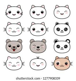 Kawaii style cute animal faces set vector