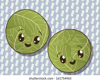 Kawaii style drawing cabbage icons