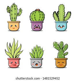Kawaii succulent or cactus plant vector illustration set