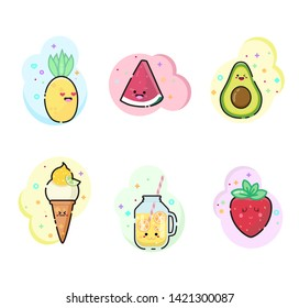 Kawaii summer food. Tasty sammer.  Set of bright cute stickers. Icons with summer food.
