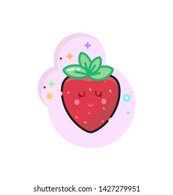 Kawaii summer food. Tasty sammer.  Bright cute sticker. Icons with summer food.