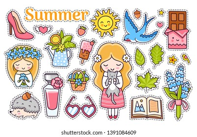 Kawaii summer stickers with blonde girls, blue swallow, heart sunglasses, sun, lavender, perfume, chocolate, flowers, leaves, ice cream, hedgehog with acorn. Collection of vector illustrations.