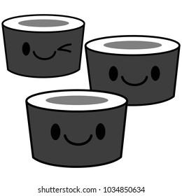 Kawaii Sushi Illustration - A vector cartoon illustration of a cute Kawaii Sushi.