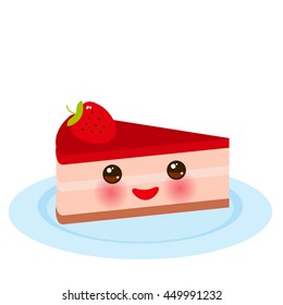 kawaii Sweet cake decorated with fresh Strawberry, pink cream and chocolate icing, piece of cake on the blue plate, pastel colors on white background. Menu Card design. Vector