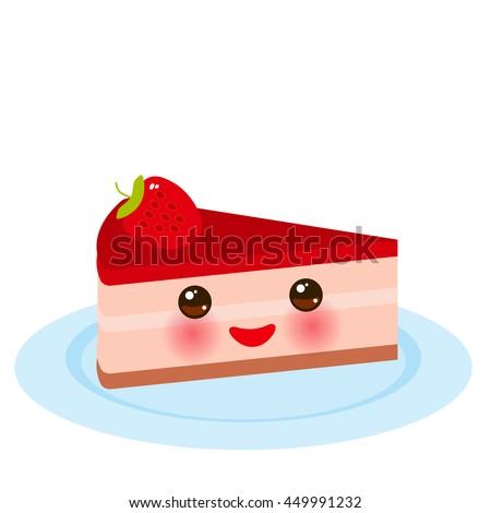 Kawaii Sweet Cake Decorated Fresh Strawberry Stock Vektorgrafik