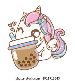 Kawaii Unicorn love boba tea,  unicorn with bubble tea Cartoon Character. vector design, illustration.