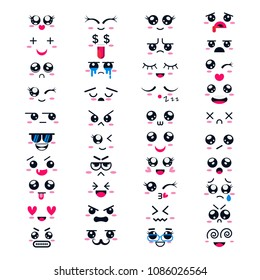 Kawaii vector cartoon emoticon character with different emotions and face expression collection illustration emotional set of japanese emoji and emotive feelings isolated on white background