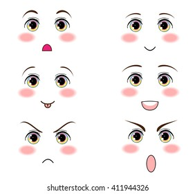 Kawaii vector design. Anime, manga eyes, funny icon set for smiles, faces. Magic, fantastic eyes, bright cute colors. Emotions:  happy, sly, sad, angry, playful, naughty, cry