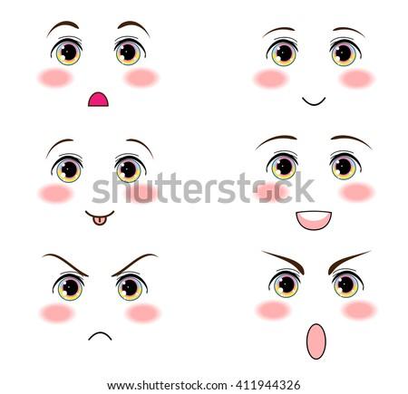 Kawaii Vector Design Anime Manga Eyes Funny Icon Set For Smiles Faces