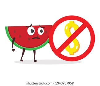 Kawaii vector illustration character cartoon cute watermelon mascot holding sign no used gold dollar money coin, dont get for business in white background modern flat design brand