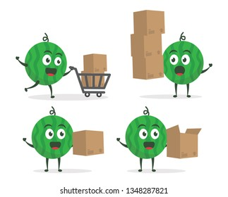 Kawaii vector illustration character cartoon cute watermelon mascot holding carboard box for delivery packages with trolley market shopping cart in white background modern flat design brand