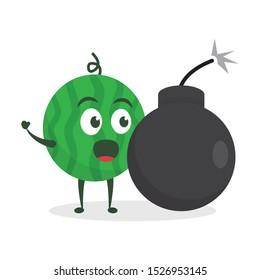Kawaii vector illustration character cartoon cute green watermelon mascot holding big giant bomb in white background modern flat design brand