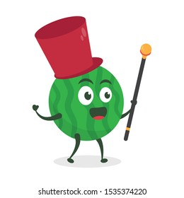 Kawaii vector illustration character cartoon cute watermelon mascot holding stick music leader of marching band in white background modern flat design brand