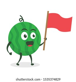 Kawaii vector illustration character cartoon cute watermelon mascot holding flag music marching band  in white background modern flat design brand