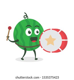 Kawaii vector illustration character cartoon cute watermelon mascot holding  drum marching band in white background modern flat design brand