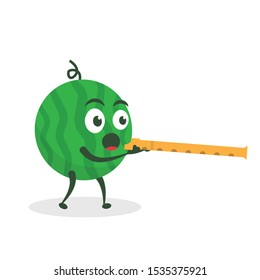 Kawaii vector illustration character cartoon cute watermelon mascot holding  flute play group team marching band parade music in white background modern flat design brand