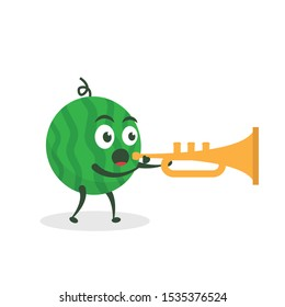 Kawaii vector illustration character cartoon cute watermelon mascot holding  trumpet marching band in white background modern flat design brand