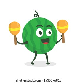 Kawaii vector illustration character cartoon cute watermelon mascot holding  play maracas music marching band in white background modern flat design brand