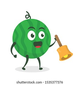 Kawaii vector illustration character cartoon cute watermelon mascot holding  play bell music marching band in white background modern flat design brand