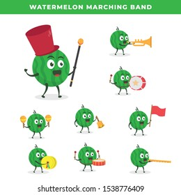 Kawaii vector illustration character cartoon cute watermelon mascot play group team marching band parade music in white background modern flat design brand