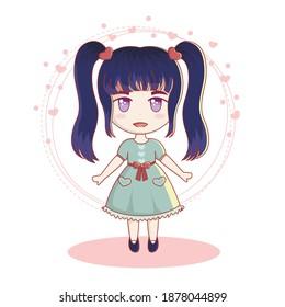 Kawaii vector illustration cute little girl. Chibi style. Cartoon character in beautiful green dress.