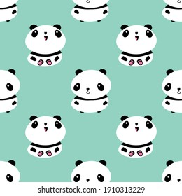 Kawaii vector panda seamless pattern background. Cute black and white sitting cartoon bears on pastel teal backdrop. Hand drawn illustration. Geometric animal character repeat. All over print for kids