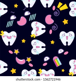 Kawaii vector seamless pattern. Funny teeth with fierce, mad, crazy muzzles on colored background. Carton anime teeth and smiles design. Perfect for dental clinic or any kawaii Japanese design
