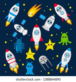 Kawaii vector set of cute rockets, aliens, comet, stars and satellites. Cartoon style. For nursery. Space theme.