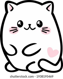 Kawaii white cat, with a heart on its side, vector isolate.