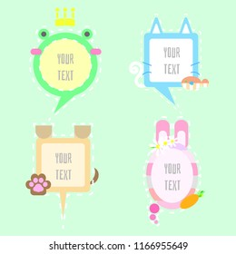 kawaii,cute,sweet,colorful,pastel speech bubble balloon think,speak,talk,flat,design,vector,illustration text box, animal pet with frog,cat and fish,dog and paw foot print,bunny rabbit and carrot set