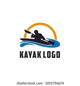 Kayak boat paddle pedal, silhouette of river stream kayaker logo design