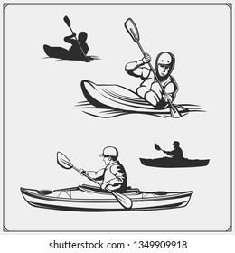 Kayak and canoe emblems, labels, badges and design elements. Vector set illustration. Print design for t-shirts.