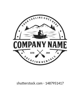 Kayak and canoe, vacation rental logo design, outdoor logo and landscape