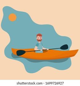 Kayak extreme sport, Kayak Boat, Kayaking Water Sport, Flat Cartoon