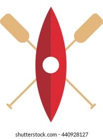 Kayak Isolated Vector. Canoeing Logo.