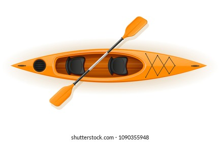 kayak from plastic for fishing and tourism vector illustration isolated on white background