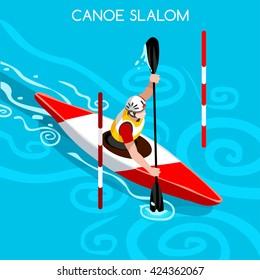 Kayak Slalom Canoe Sportsman Games Icon Set. 3D Isometric Canoeist Paddler. Slalom Kayak Sporting Competition Race. Summer Sports Recreation Infographic Kayak Slalom events Vector People