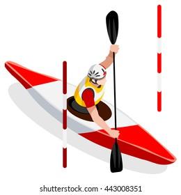 Kayak Slalom Canoe Sportsman Games Icon Set. 3D Isometric Canoeist Paddler. Slalom Kayak Sporting Competition Race. Summer Sports Recreation Infographic Kayak Slalom events Vector Illustration.