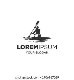 kayak sport silhouette logo vector