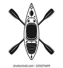 Kayak and two crossed paddles vector illustration in vintage monochrome style isolated on white background