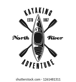 Kayak and two crossed paddles vector emblem, label, badge or logo in vintage monochrome style isolated on white background