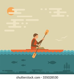 kayak vector illustration, kayaking water sport,