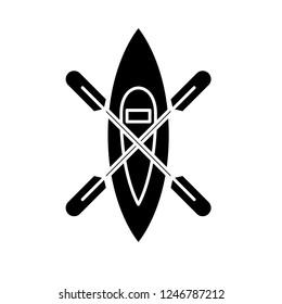 Kayaking boat black icon, vector sign on isolated background. Kayaking boat concept symbol, illustration