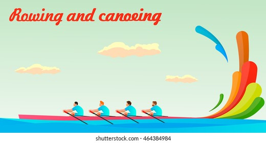 kayaking of four people in the team . At the Summer Games . Rio, Brazil . Illustration, vector ,