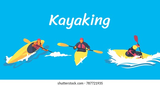 Kayaking paddling on boats set with people in rafting canoeing